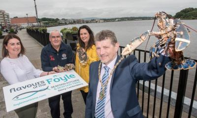 Derry City and Strabane District Council Deputy Mayor, Alderman Derek Hussey, pictured at the launch of the Flavours of the Foyle, Seafood Kitchen and Seafood Trail in Derry-Londonderry with, from left, Jennifer O'Donnell, Tourism Manager, DCSDC, Patsy Farren, Manager, Donegal Prime Fish and Catherine Goligher, DCSDC Food Project Officer. Credit: Martin McKeown/Inpresspics.com