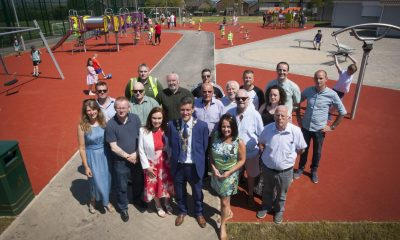 Mayor of Derry City and Strabane District Council, Councillor John Boyle, pictured with stakeholders and funders at the announcement of the completion of work of the Ballymagroarty Play Park Project. The development is jointly funded by the Social Investment Fund (SIF) under the NI Executive's Delivering Social Change framework and Council through its Parks Development Programme.