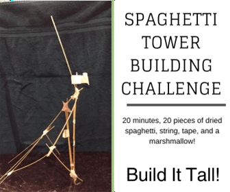 Spaghetti Tower Building Challenge - 20 strands of pasta, string, tape, marshmallow. 20 minutes, GO!