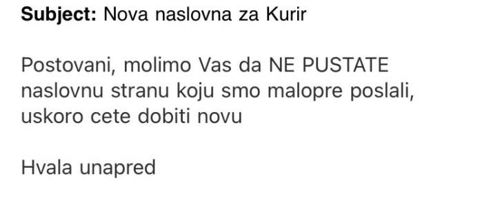 """FRKA U VRHU: """"Kurir"""" povukao naslovnu stranu sa Šapićevim funkcijama! 2"""