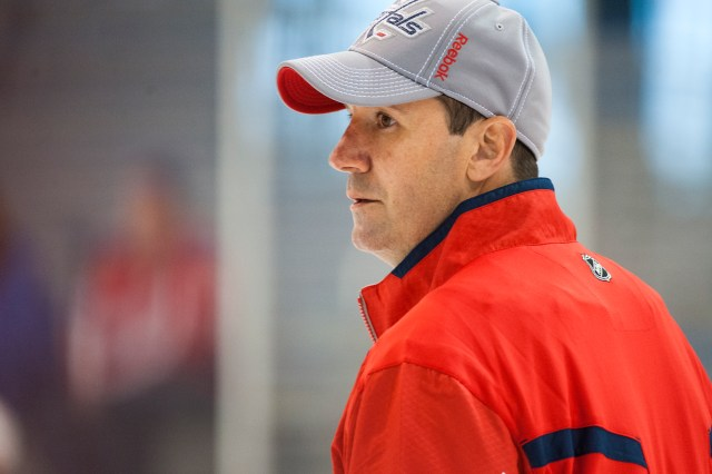 ARLINGTON, VA - JULY 7: Washington Capitals assistant coach Todd Reirden keeps an eye on practice at the Washington Capitals developmental camp at Kettler Capitals Iceplex July 7, 2014 in Arlington, VA. (Photo by Katherine Frey/The Washington Post)