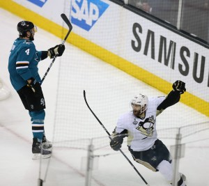 Pittsburgh Penguins forward Eric Fehr (16) celebrates his goal in the third period against the San Jose Sharks during Game 4 of the NHL Stanley Cup Final on Monday, June 6, 2016 at SAP Center in San Jose, Calif. (Aric Crabb/Bay Area News Group)