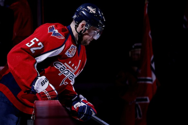 Oct 16, 2014; Washington, DC, USA; Washington Capitals defenseman Mike Green (52) takes to the ice prior to the Capitals' game against the New Jersey Devils at Verizon Center. The Capitals won 6-2. Mandatory Credit: Geoff Burke-USA TODAY Sports