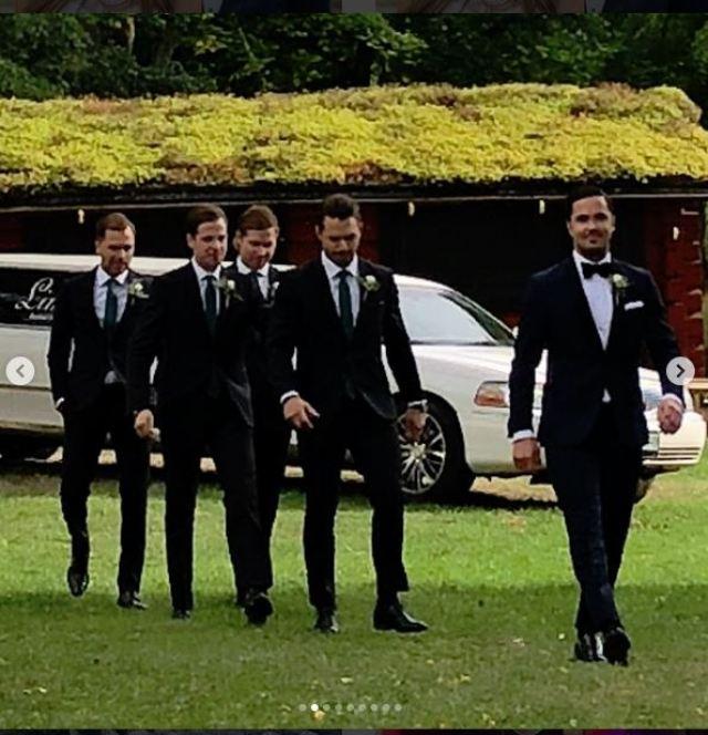 Groomsmen in Front of Limo Johansson Wedding