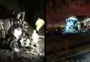 Caminhão tem cabine destruída ao bater na traseira de outro veículo na Rodovia Anhanguera, em Orlândia