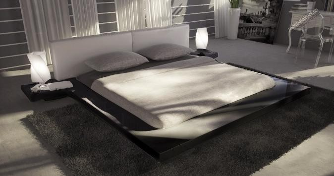 Opal  Black Gloss Japanese Style Platform Bed buy from NOVA interiors contemporary furniture