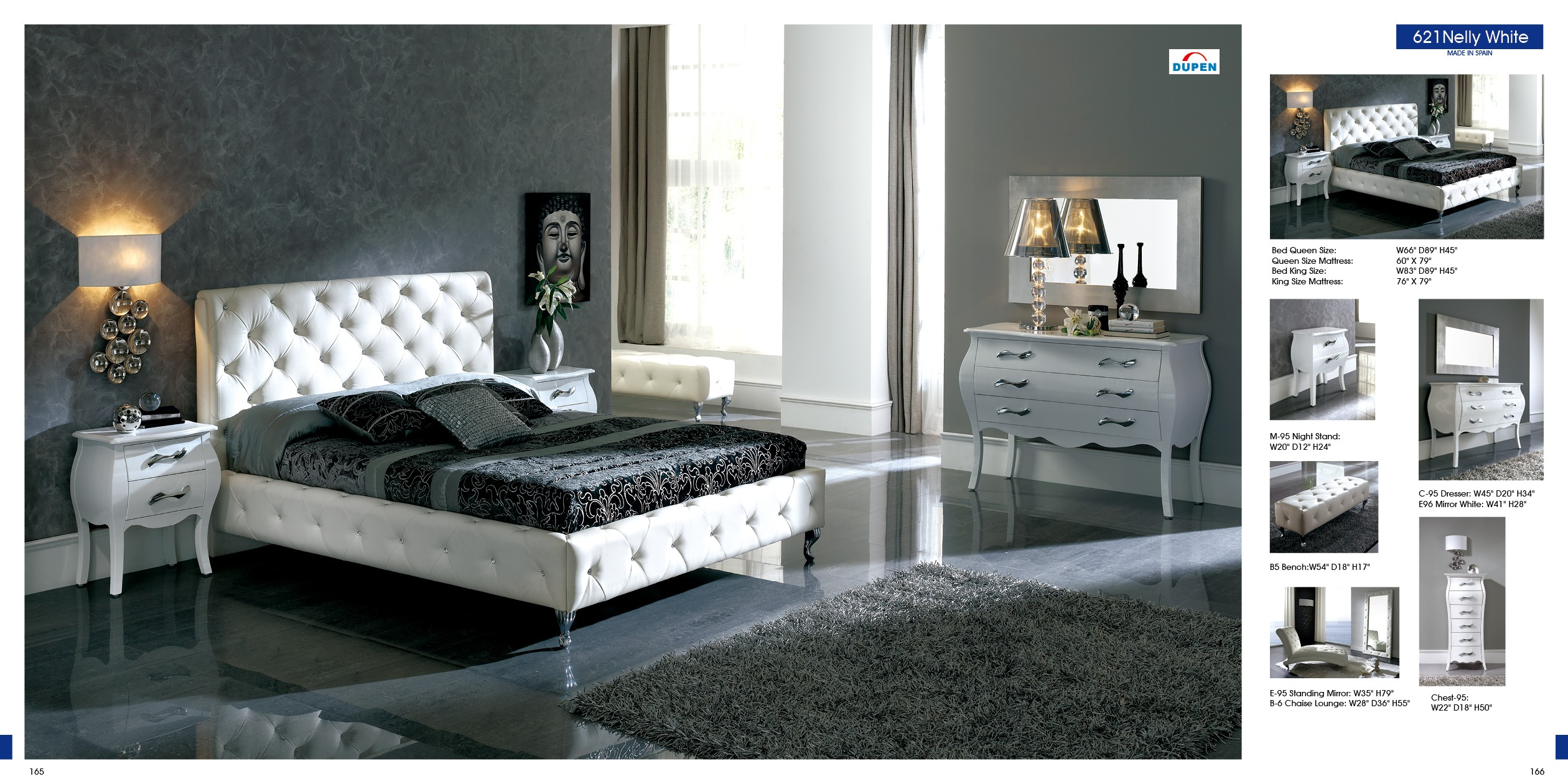 621 Nelly By Dupen White Black Made In Spain Modern