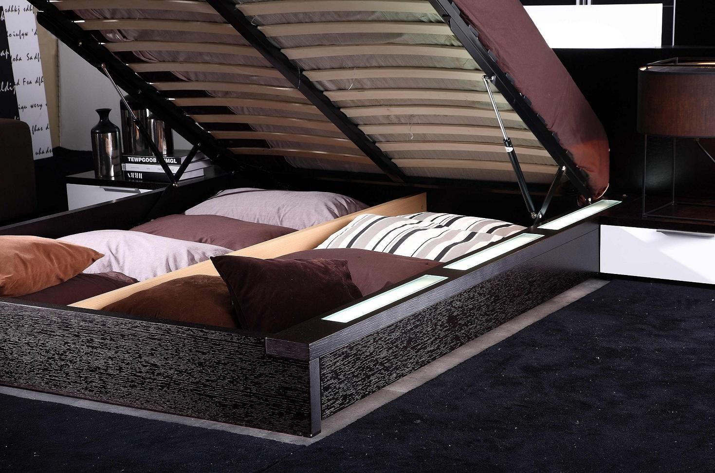 Gamma Modern Platform Bed With Air Lift Storage Nova Interiors