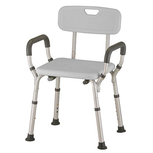 shower chair with wheels and removable arms drafting chairs benches comes complete skid resistant rubber tips along push button release back great for travel easy to store