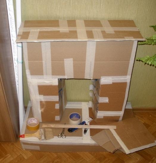 декоративный камин из картонных листов