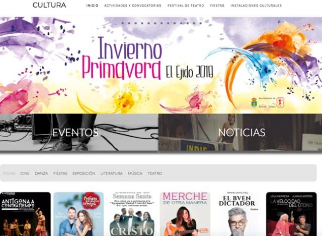 Aspecto de la nueva web de Cultura de El Ejido.