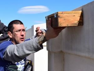Fernando ha sido el encargado de construir las cajas-nido