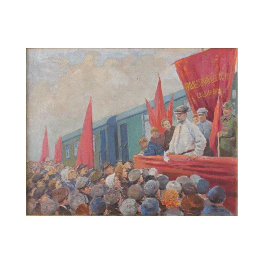 Ganzhinskij kartina etyud M.I.Kalinin na mitinge pri zakladke elektrostancii v Novosibirske