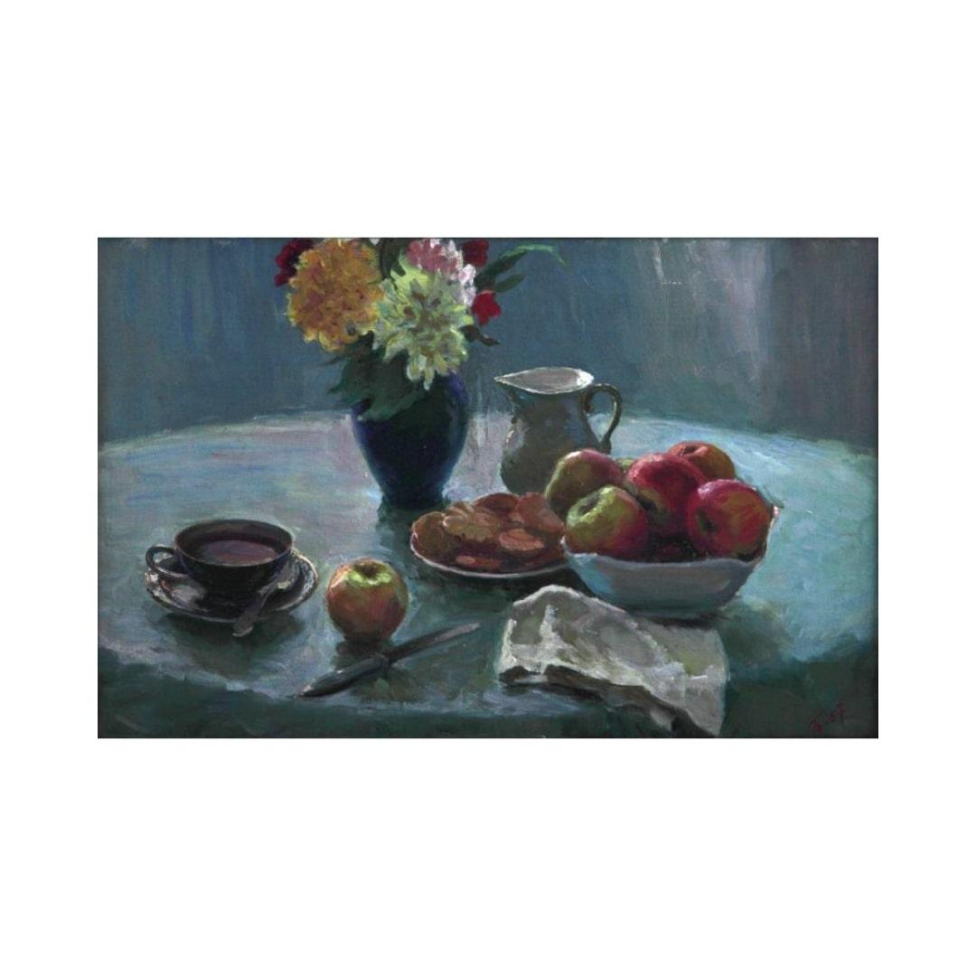 Bertik kartina Natyurmort s cvetami i fruktami