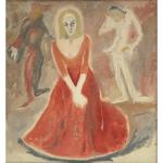 Pozdeev kartina portret devushka v krasnom teatr plat'e