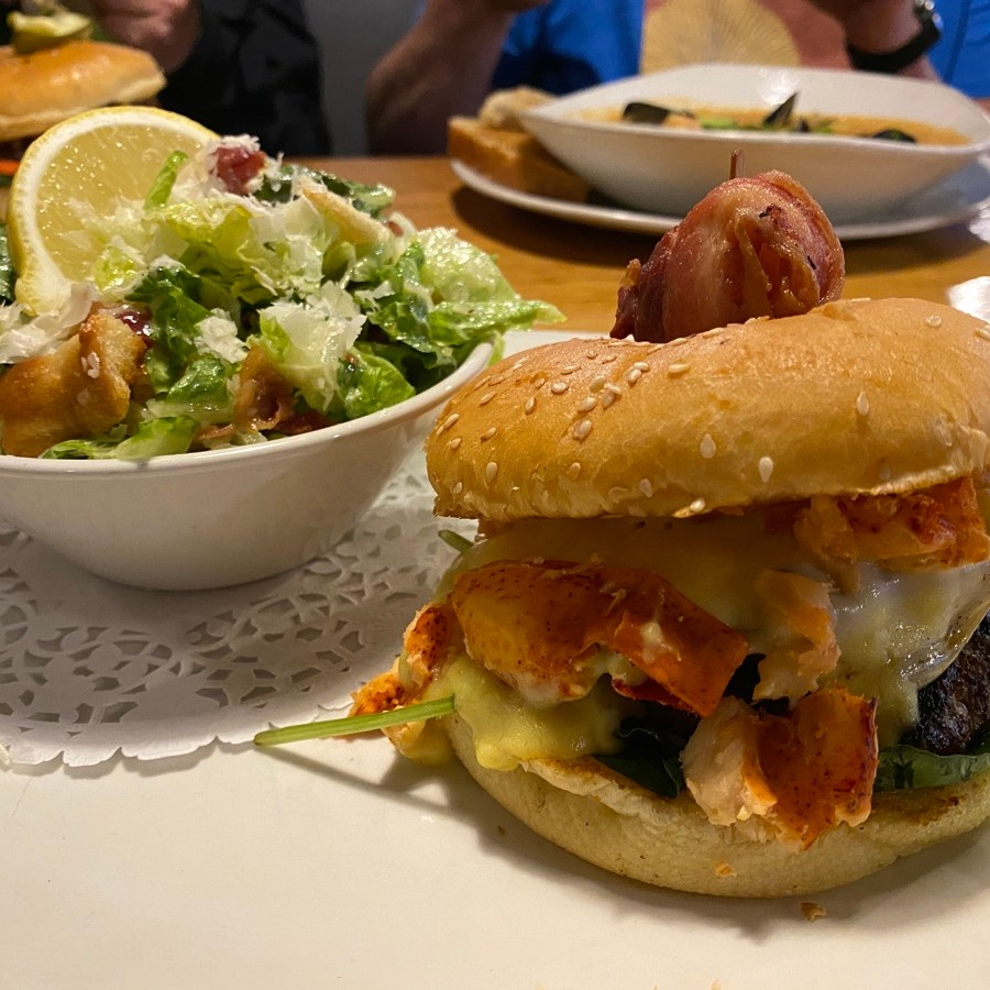 the lunenburg burger with lobster at the grand banker restaurant in lunenburg