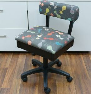 ARROW HYDRAULIC SEWING CHAIR WITH CAT'S MEOW PATTERN