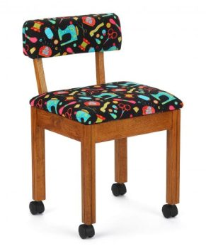 Arrow - BLACK FABRIC SEWING NOTIONS SEWING CHAIR. ( OAK )