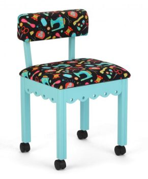 Arrow - BLACK FABRIC SEWING NOTIONS SEWING CHAIR. ( BLUE )