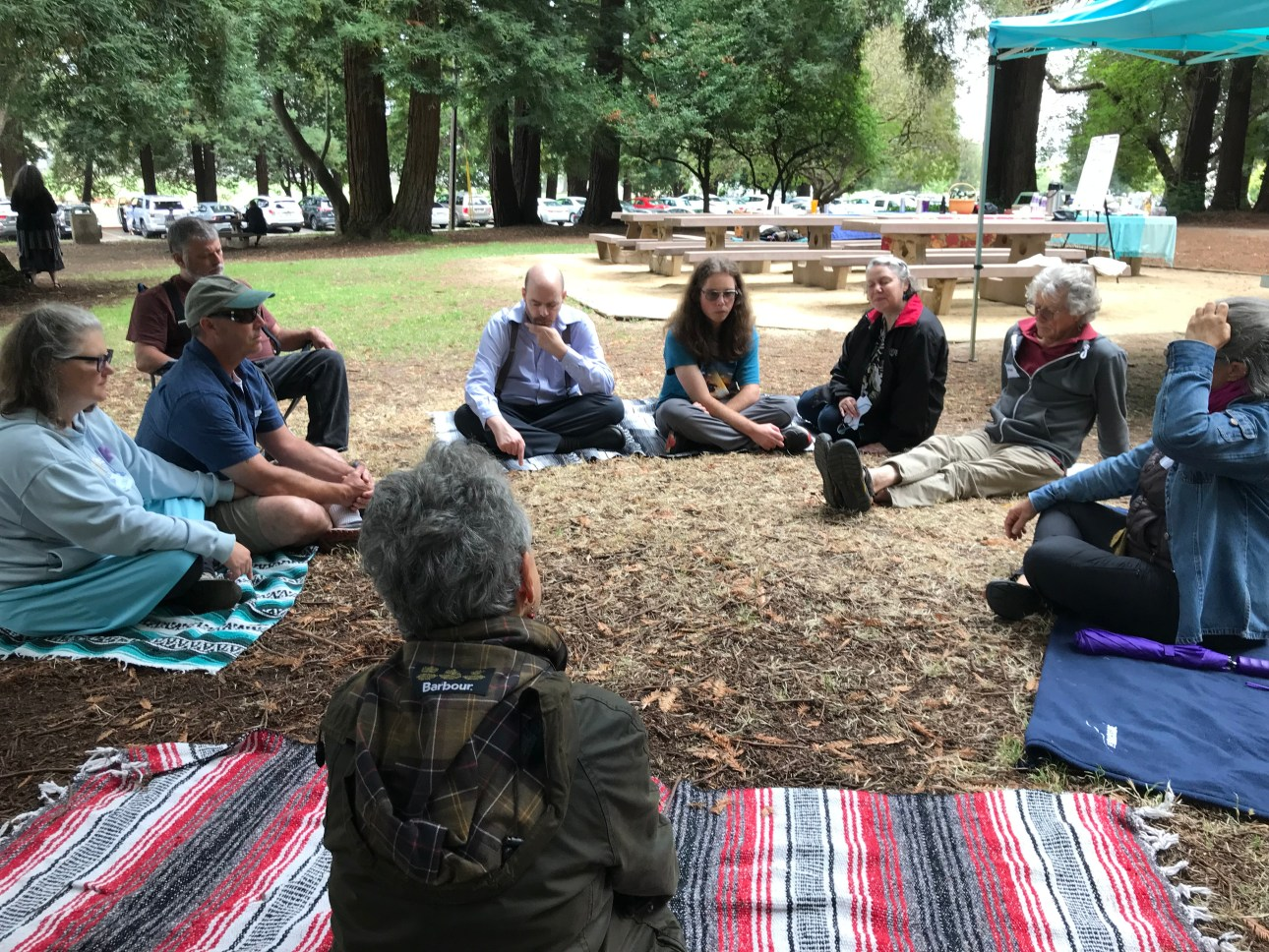 A local group sitting in a circle.