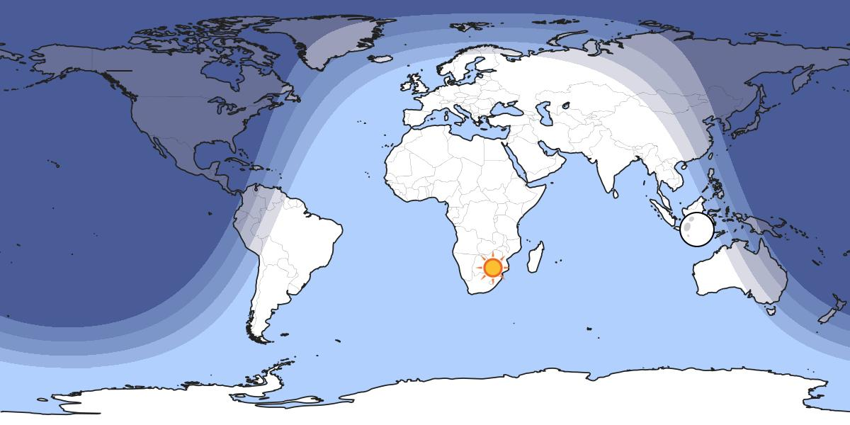 Sun over southern Africa, December 2020 Solstice