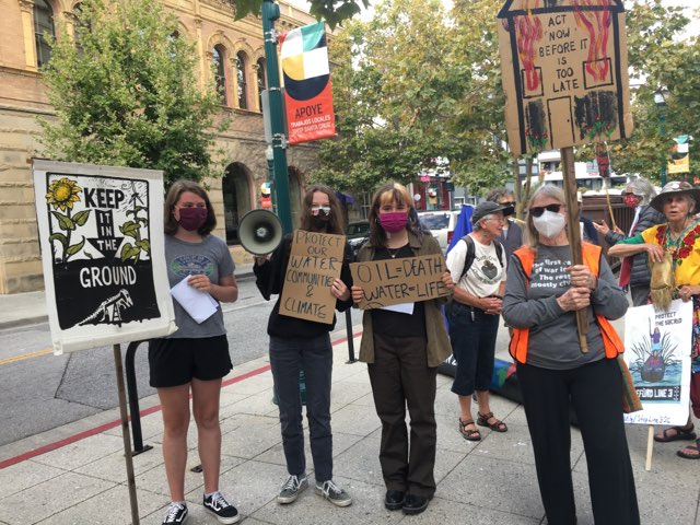 #DefundLine3 demonstration 13 Aug 2021, Santa Cruz, California. Photo by Linda Marin.