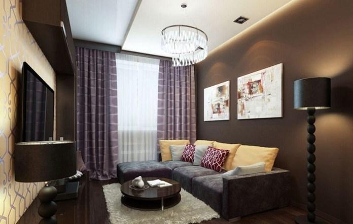 Темная отделка для комнаты. / Фото: homeli.ru