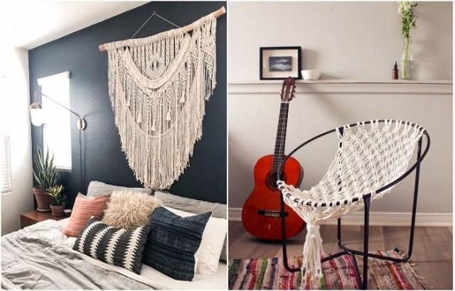 Макраме можно использовать в качестве декора стен и украшения мебели.