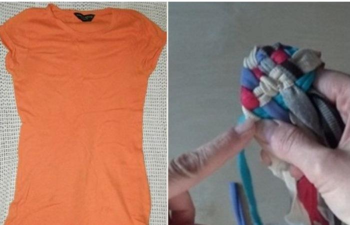 Какую полезную вещь для ванной можно сделать из старой футболки.