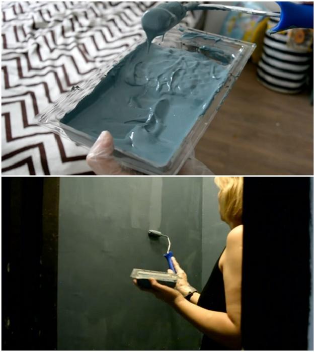 Чтобы получился равномерный тон, стены красят в два слоя.