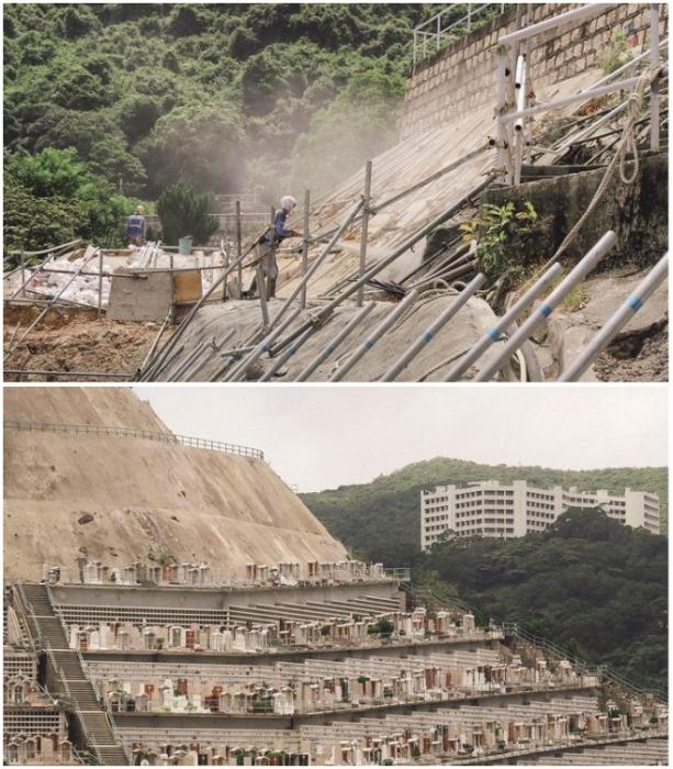 Процесс создания террас для вертикальных некрополей очень сложный и опасный (Гонконг). | Фото: insider.com/ Finbarr Fallon.