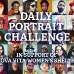 """artist portraits in background with text """"daily portrait challenge in support of Nova Vita Women's Shelter"""""""