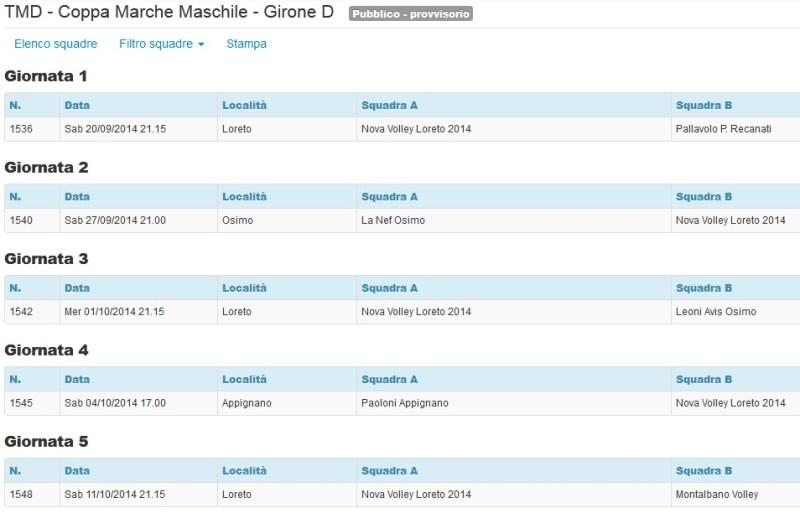 Calendario Coppa Marche