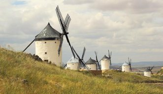 """Don Quixote's """"giants"""" in the Spanish countryside."""
