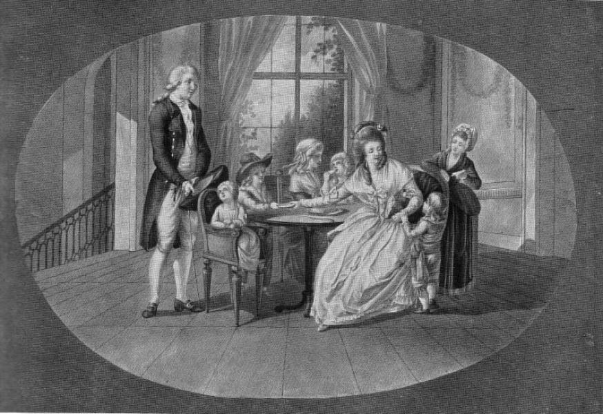 Werther und Lotte mit ihren Geschwistern / Bleistift- und Sepiazeichnung von Johann Daniel Donat