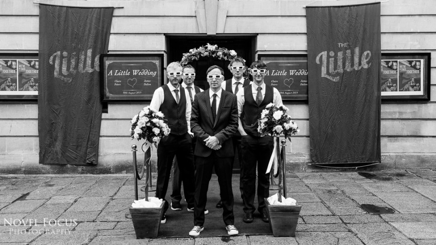 little theatre groomsmen wedding 3d glasses