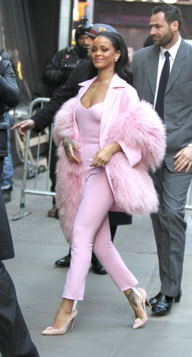 Rihanna stops by 'Good Morning America' in New York City