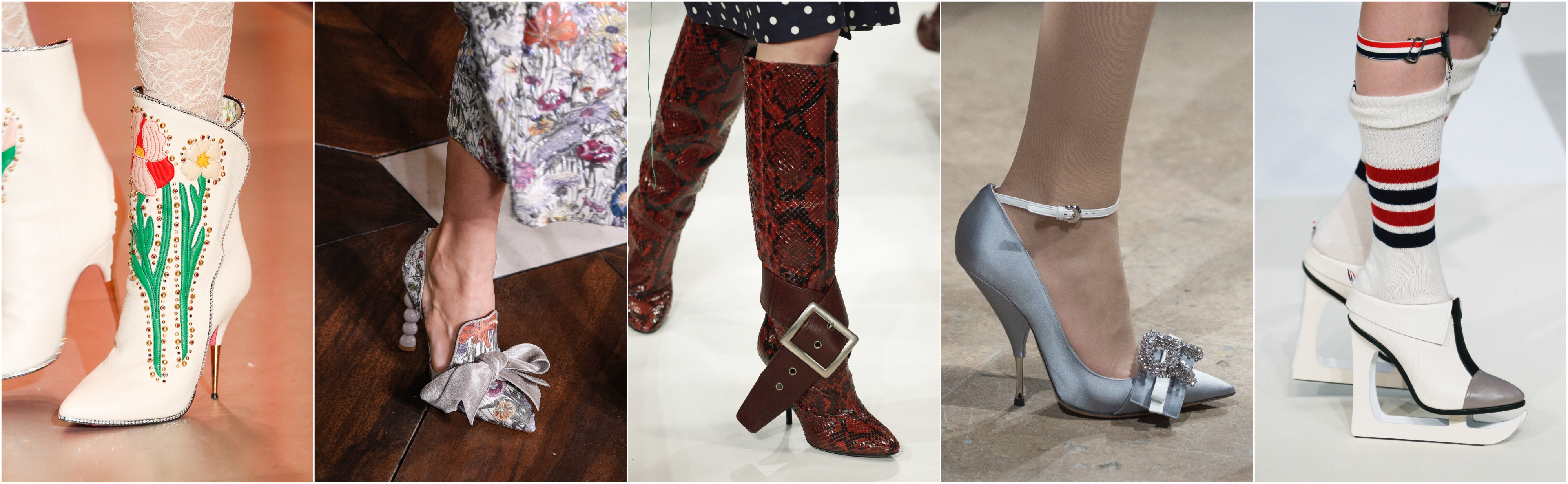 Photos: Vogue Runway | From L to R: Gucci, Tory Burch, Maison Margiela,  Rochas, Thom Browne