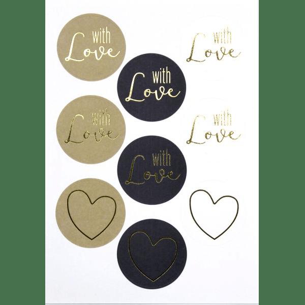 Motivsticker with Love 6 Stück