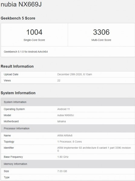 nubia smartphone with Snapdragon 888 appears on Geekbench