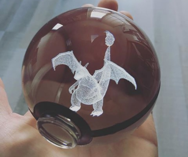 Laser Etched Glass Poké Ball