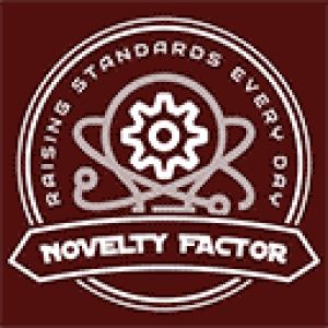 """The Novelty Factor LLC logo. It shows a badge with a gear in the center of a lightbulb surrounded by electrons and the words, """"Raising Standards Every Day."""" Across the bottom front a banner reads, """"Novelty Factor."""""""