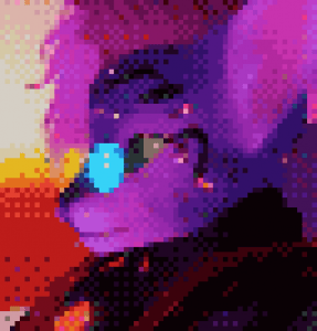 A portrait of Maus Merryjest's virtual avatar: a purple humanoid feline creature with blue sunglasses and wild hair.