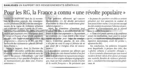 08.12.2005 - RG : la France a connu une révolte populaire, Le Monde