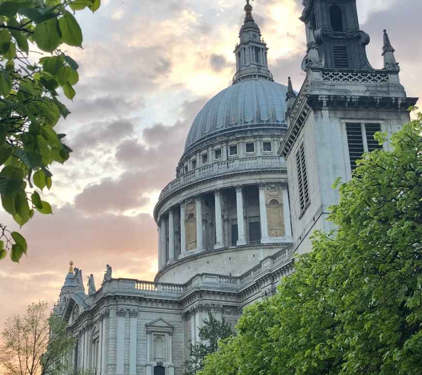 low angle photo of st paul s cathedral under sunset colors