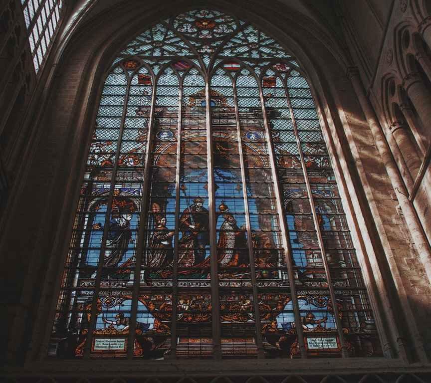 brown framed glass window