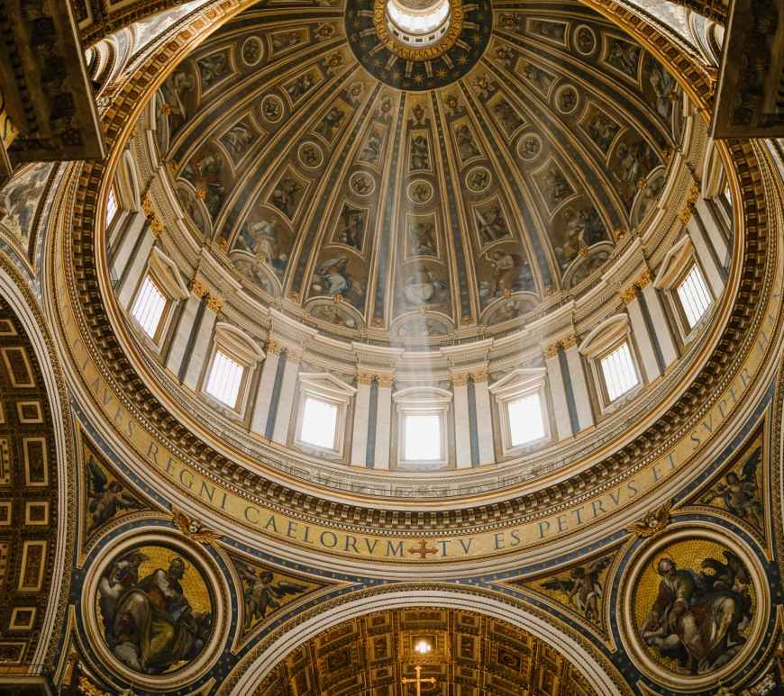 ornamental dome of grand catholic cathedral