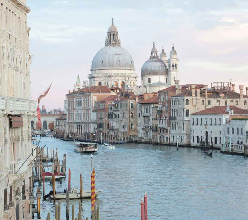 grand canal and old cathedral in venice