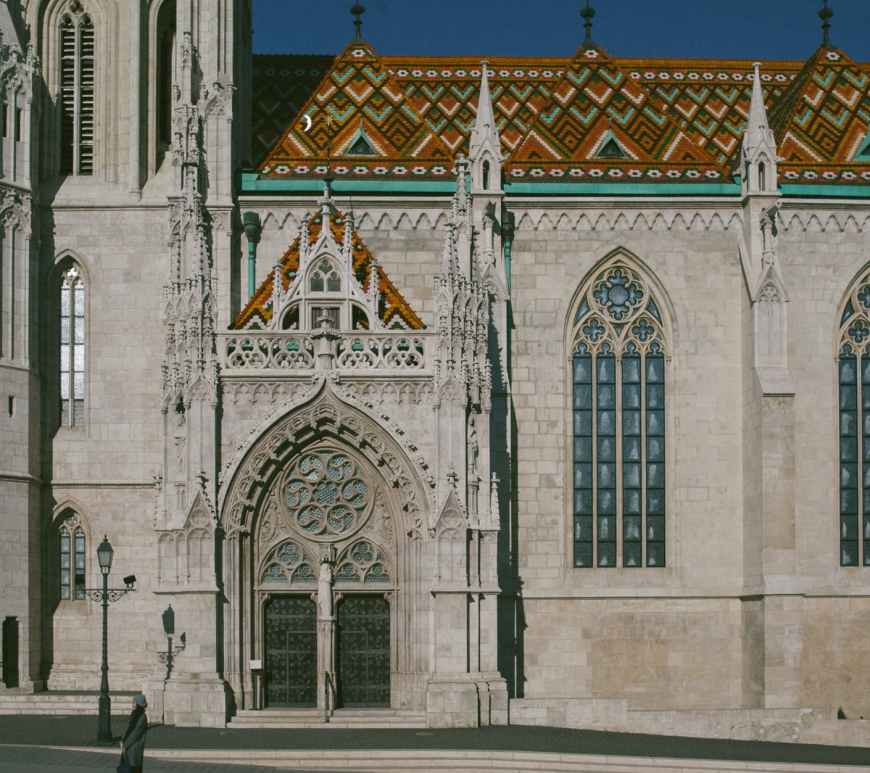 facade of old romanesque cathedral