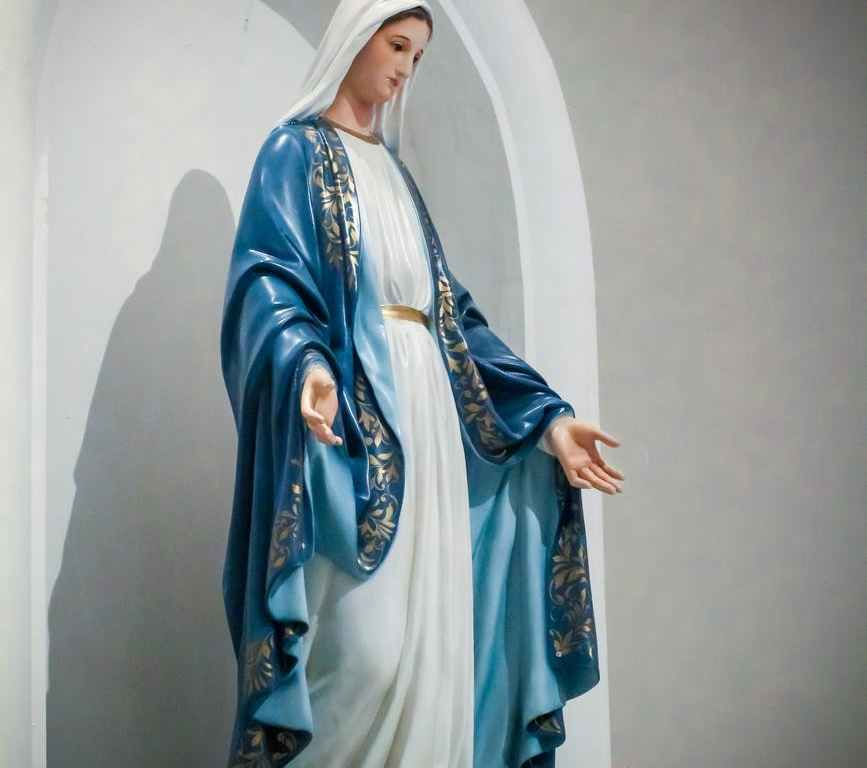 a statue of mother mary